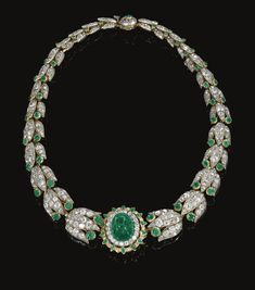 PROPERTY FROM THE ESTATE OF THE LATE PRINCE KINSKY - Emerald and diamond necklace, late 19th century