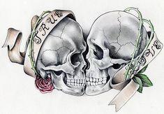 1 Tattoo, Tatoo Art, Tattoo Drawings, Bird Drawings, Skull Rose Tattoos, Body Art Tattoos, Couple Tattoos, Love Tattoos, Tatoos