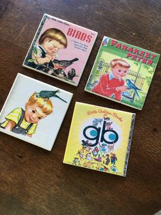 Ceramic Tile Coasters - Vintage Little Golden Book Birds Custom Coasters, Tile Coasters, Ceramic Tile Crafts, Quirky Gifts, Little Golden Books, Create And Craft, Recycled Crafts, Creative Studio, Home Crafts