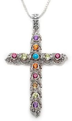 Nicky Butler Silver Gemstone Cross Pendant