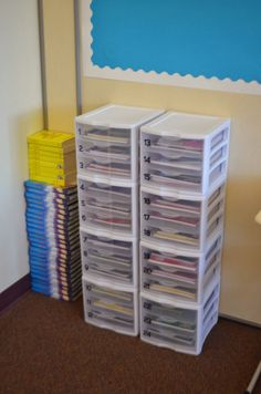 Reinforcement and/or challenge work in individual drawers for students. This would be great for early finishers.