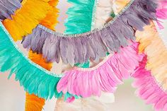 Feather Garland! ❤️this idea for parties or just decor.