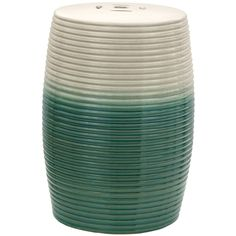 Beige and Green Ribbed Porcelain Garden Stool (China) - Overstock Shopping - Great Deals on Garden Accents