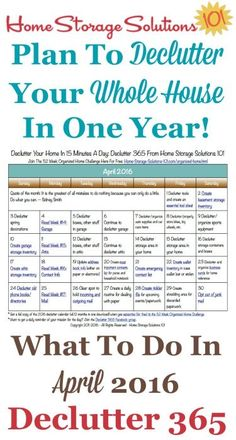 Free printable April 2016 decluttering calendar with daily 15 minute missions. Follow the entire Declutter 365 plan provided by Home Storage Solutions 101 to declutter your whole house in a year.