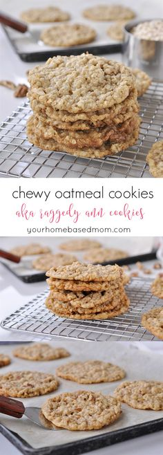 "Chewy Oatmeal Cookies aka ""Raggedy Ann Cookies"" Recipe - this recipe has been around for years and for a reason. They are SO yummy! Oatmeal Cookie Recipes, Delicious Cookie Recipes, Easy Cookie Recipes, Oatmeal Cookies, Cookie Desserts, Yummy Cookies, Chip Cookies, Sweet Recipes, Yummy Treats"