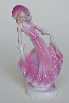 Lovely Vintage Art Deco Porcelain Dancing Lady Figurine in Pink Hat.