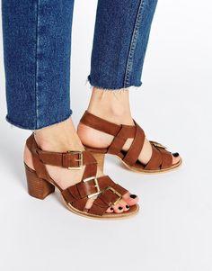 Image 1 ofASOS HABIT Leather Heeled Sandals