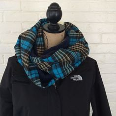 ⭐️$10 TONIGHT ONLY⭐️Double Sided Infinity Scarf Blue, lemon and black plaid flannel on one side, blue sherpa on the other. 100% polyester. Last one. TRADESHOLDS You CAN purchase this listing! Accessories Scarves & Wraps