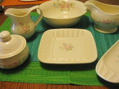 Pfaltzgraff Tea Rose Bistro Serving Set  by ChinaGalore on Etsy