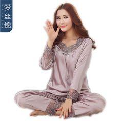 Hot Offer 2018 New Elegant luxury Silk Pajamas For Women Solid Embroidery pyjamas women Lounge Pajama Sets Silk Satin Pijama Feminino .....More Detail Please Click Link