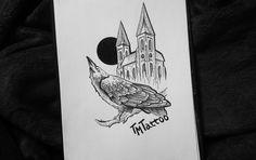 Ворона и замок \\ Черная луна \\ Эскизы татуировок \\ Графика Castle and crow \\ Black moon \\ Sketch \\ Tattoo \\ Graphics