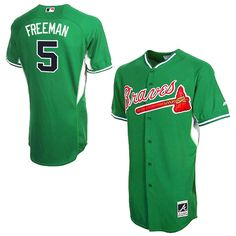 390fed895 Majestic Freddie Freeman Atlanta Braves Cool Base Celtic Batting Practice  Jersey - Kelly Green