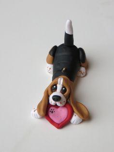 Basset Hound dog Ornament Polymer Clay Figurine Ringholder Tricolor. $18.95, via Etsy.