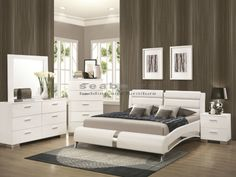 Modern and contemporary style will flood your bedroom suite with the addition of this stylish Felicity bedroom collection. Crisp, clean lines give this collection the hip look you have been looking for. A Glossy White finish accented by metallic drawer pulls and block feel make this collection stand out in your home. Each storage piece has ample room for all your clothes and valuables stored neatly out of sight. Add this collection to your bedroom suite for the perfect modern design.