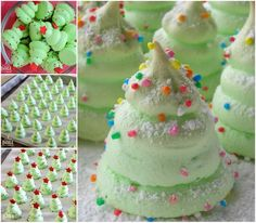 These sweet Meringue Cookies look like mini Christmas Trees . They are perfect on your table for Christmas gathering, and would make a nice homemade gift Christmas Tree Food, Xmas Food, Christmas Sweets, Christmas Goodies, Christmas Candy, Christmas Baking, Xmas Tree, Christmas Tree Meringues Recipe, Holiday Treats