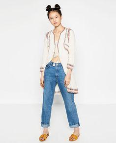 Zara Woman Premium Denim Collection Embroidered skirt womens sz M BLOGGER FAVE | eBay