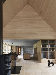 This house sits near the town Krumbach in the Austrian countryside. It was designed by Bernado Bader Architects who used locally sourced elm, spruce and fir in the construction. 60 trees were strategically used in the finishes, structure and even the furniture, a highlight of this efficient design project.