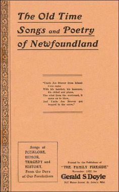 the publishers of The Family Fireside - The Old Time Songs and Poetry of Newfoundland (Gerald S. Newfoundland And Labrador, Newfoundland Canada, Newfoundland Recipes, Great Big Sea, Gros Morne, Rock Recipes, I Have A Secret, Atlantic Canada, Books For Moms