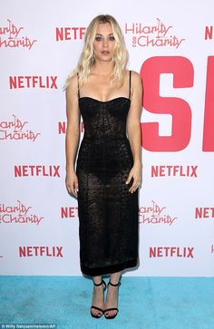 Wow factor: Big Bang Theory beauty Kaley Cuoco made sure she stood out from the crowd at the Hilarity For Charity event on Saturday night in a very daring dress Daniela Ruah Bikini, Caley Cuoco, Kaley Cuoco Body, Low Cut Black Dress, Big Bang Theory Penny, Fade Styles, Beautiful Celebrities, Beautiful Ladies, Celebrity Dresses