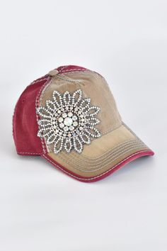 Olive & Pique Mocha & Burgundy Women's baseball cap embellished with irredescent rhinestones. Crystal flower heavy stitch snap back hat. One size fits most.  Burgundy Embellished Hat by Olive & Pique. Accessories - Hats California