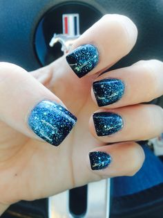 Nails Mylar black blue glitter Nail Design, Nail Art, Nail Salon, Irvine, Newport Beach Short Manicure - French tip - Square shaped long nails - cute summer fall spring fingernails - gel nails - shellac - Blue Glitter Nails, Sparkly Nails, Fancy Nails, Trendy Nails, Diy Nails, Black Glitter, Glitter Manicure, Black And Blue Nails, Black Nail
