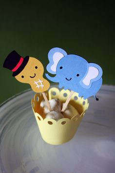Circus Peanut Elephant Cupcake Toppers by Foolishworkerbee on Etsy, $7.50