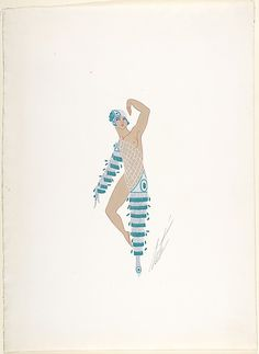 """Costume Design with Green and White Beads and Lattice Work Torso for """"Prince Amoureux,"""" George White's Schandals, New York Erté (Romain de Tirtoff) (French (born Russia), St. Petersburg 1892–1990 Paris) Date: 1925 Medium: Gouache and metallic paint Classification: Drawings Erte Art, Romain De Tirtoff, The Magic Flute, Art Deco Print, White Beads, Illustrations And Posters, Embroidery Art, Art Deco Fashion, Costume Design"""