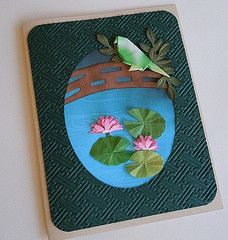 Paper Greeting Card 3 Photos | Waterlily with Origami Bird | 812