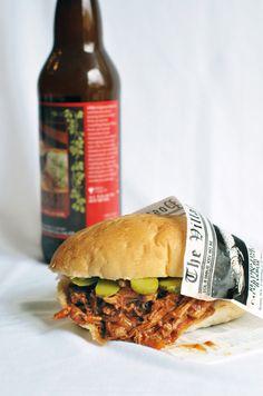 orange bbq pulled-pork sandwich