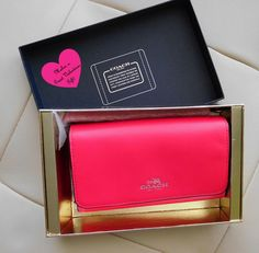 New Coach Boxed Leather Phone Clutch Amaranth Pink #Coach #PhoneClutch