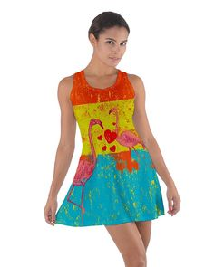 CowCow Womens Flamingo Summer Cotton Racerback Dress at Amazon Women's Clothing store:
