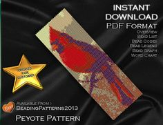 Peyote Pattern Bracelet Cuff Beading Miyuki Delica Size 11 Beads - PDF Download - Cardinal Bird