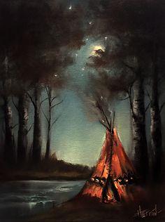 Indian Teepee Painting, Native American Painting, Indian Art, Original Landscape by Ryan Herrin