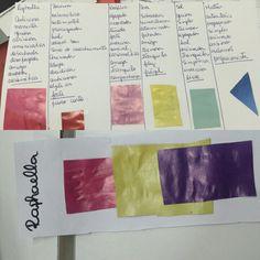 Trabalho de cores feito em aula e minha cartela escolhida pelo meu grupo