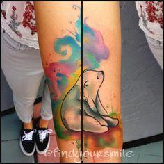 Polar bear watercolor tattoo