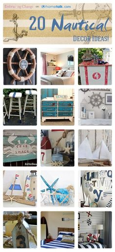 Decor Idea Box by Stacey @ Embracing Change 20 Nautical Decor Ideas. I don't live by the sea, so I want to bring it to Nautical Decor Ideas. I don't live by the sea, so I want to bring it to me! Nautical Bedroom, Nautical Home, Nautical Style, Coastal Style, Coastal Decor, Nautical Decor Ideas, Seaside Decor, Beach House Decor, Diy Home Decor
