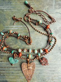 Keirsten Giles/The Cerebral Dilettante - Heart Necklace Southwest Copper Damask Charm by lunedesigns