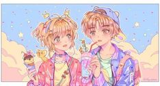 Sakura x Syoran Cardcaptor Sakura, Syaoran, Manga Anime, Anime Art, Cute Couple Drawings, Card Captor, Clear Card, Kawaii Drawings, Magical Girl