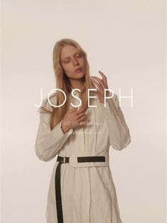 Sofie Hemmel poses in belted coat from Joseph spring 2016 collection