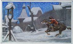 """The Herald"", Gouache by Lev Khailov A Christmas Story, Winter Christmas, Christmas Decorations, Christmas Ornaments, Russian Art, Horse Riding, Winter Time, Gouache, Seasonal Decor"