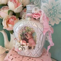 Altered bottle Shabby chic embellished with by lilhoneysshoppe