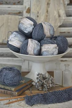 Soulful Yarn French Blue , Ribbon, Lace and Yarns - Jeanne d'Arc Living, Vintage Market And Design
