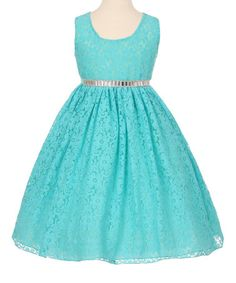 Look what I found on #zulily! Aqua & Silver Lace A-Line Dress - Toddler & Girls #zulilyfinds