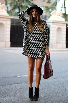 Street style - black & white zig zag top/dress, black ankle boots &…