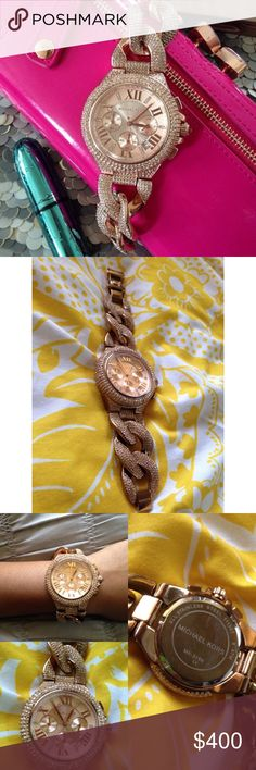 Michael Kors Camille Rose Gold Watch The famous Michael Kors Camille Rose Gold watch. HIGHLY sought after. So luxurious and beautiful. AMAZING condition. Please refer to pictures. Last pic shows a few stones missing on the top wrist. No scratches on the face.  PRICE IS FIRM     I DO NOT TRADE  Michael Kors Accessories Watches