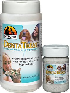 Dentatreat:  Can be sprinkled directly onto food, or it can also be used with a toothbrush as a tooth cleaning powder. Enzymes help eat away old plaque and help prevent new plaque from forming.