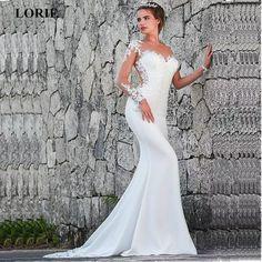 864793574f LORIE 2019 sirena vestidos de boda Turquía Apliques de encaje de novia