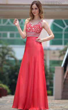 Flowered A-line V-neck Empire Floor-length Party Formal Dress