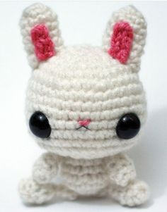 This beyond cute little amigurumi bunny is handmade by Crochet Superstar Anja of Adorably Kawaii (formerly Tiny Owl Knits).    Amazing right?