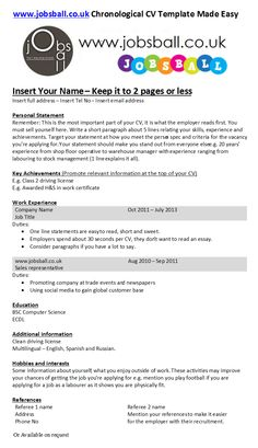 Chronological CV made easy with www.jobsball.co.uk simple cv templates.